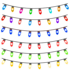 Multi color christmas light strings vector