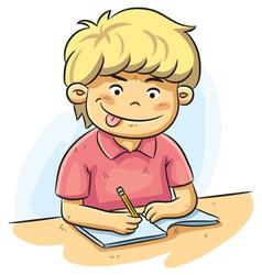 Boy studying vector