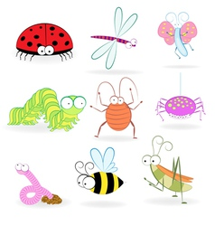Set of funny cartoon insects vector