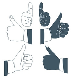 Thumbs up drawn by hands icons flat style vector