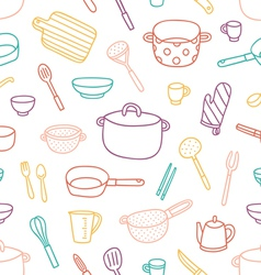 Kitchenware and cooking utensils outlined seamless vector