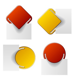 Red and yellow attached labels vector
