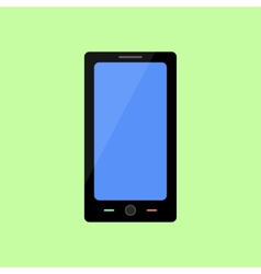 Flat style smart phone on green background vector