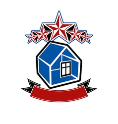 Simple house with five stars and classic ribbon vector
