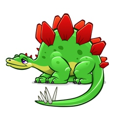 Green cartoon dinosaur vector