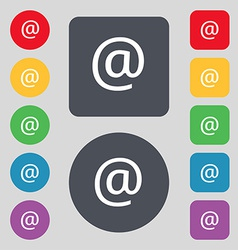 E-mail icon sign a set of 12 colored buttons flat vector