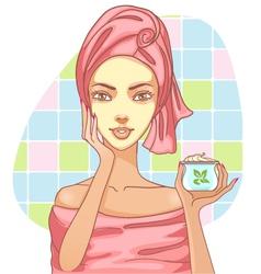Girl applying cream in the bath vector