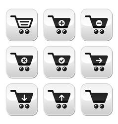 Shopping cart buttons set vector