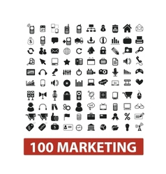 100 marketing icons set vector
