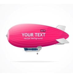 Pink dirigible balloon and text vector