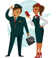 The pilot and stewardess vector