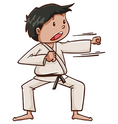 A plain drawing of a martial arts artist vector