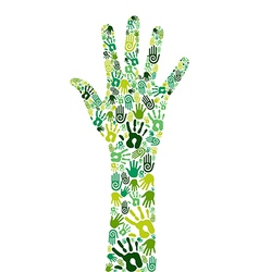 Go green collaborative hands vector