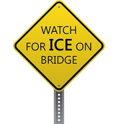 Watch for ice on bridge sign vector