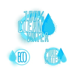 Set of three clear water badges vector
