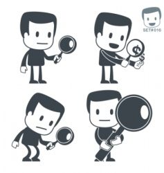 Search icon man set016 vector