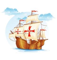 Cartoon image of a sailing ship of spain xv vector
