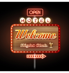 Neon sign motel welcome vector