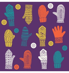 Hand wool gloves vector