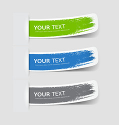 Collection label paper brush stroke vector