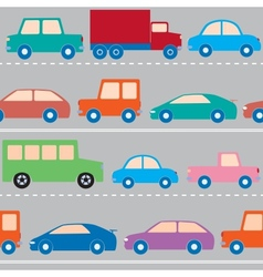 Cars on the road pattern vector