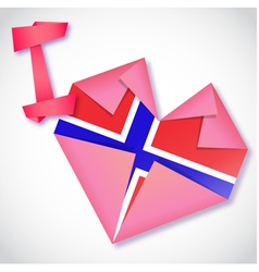 Origami paper i love norway heart card vector