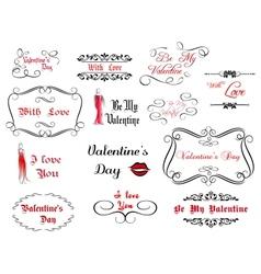 Set of love and valentines calligraphic headlines vector