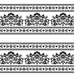 Seamless polish black folk pattern with flowers vector
