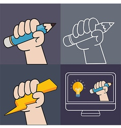 Handup and pencil vector