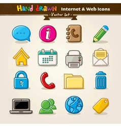 Hand draw internet and web icon set vector
