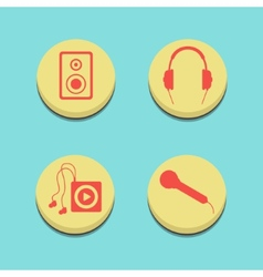 Musical buttons on blue background vector