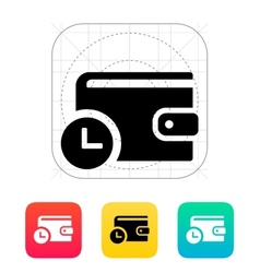 Wallet with timer icon vector