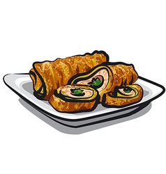 Chicken rolls vector