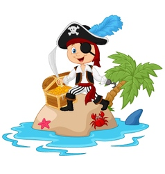 Pirate in the treasure island vector