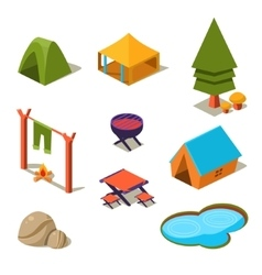 Isometric 3d forest camping elements for landscape vector