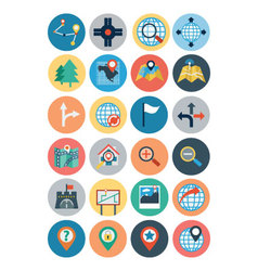 Maps and navigation flat icons 2 vector