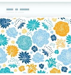 Blue and yellow flower silhouettes torn horizontal vector