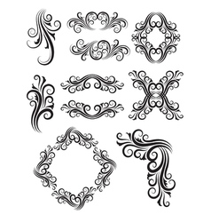 Vintage floral elemet decorations vector