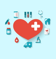 Collection modern flat icons of hearts and medical vector
