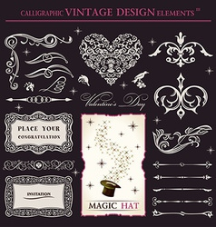 Calligraphic elements vintage set holiday patterns vector