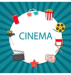 Cinema background with cinema icons set vector