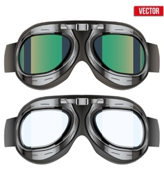 Retro aviator pilot glasses goggles isolated on vector