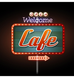 Neon sign cafe vector