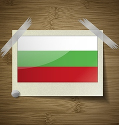 Flags bulgaria at frame on wooden texture vector