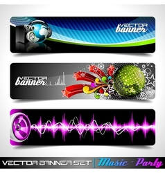 Banner set on a music and party theme vector