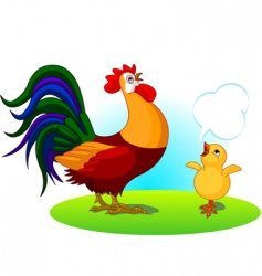Father rooster and baby chick vector