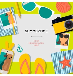 Summertime travel template with traveling vector