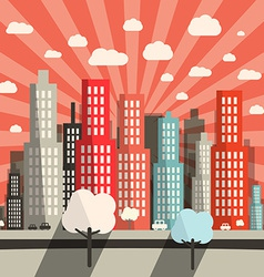 Morning - evening flat design city vector