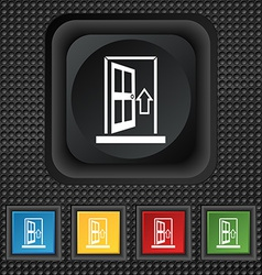 Door enter or exit icon sign symbol squared vector