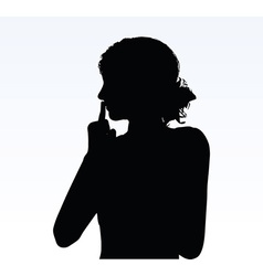 Woman silhouette with hand gesture hush vector